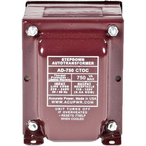 ACUPWR AD-750 IEC Type I 750W Step-Down Transformer with Type-I IEC Plug