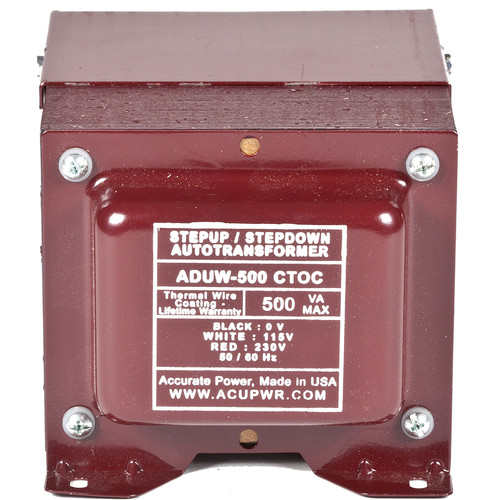 ACUPWR 500W Step-Up/Step-Down Knock-Out Box Voltage Transformer for 110-120 or 220-240V