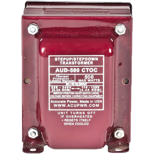 ACUPWR AUD-500IED Type-F 500W Step-Up and Step-Down Transformer with IEC Type-F
