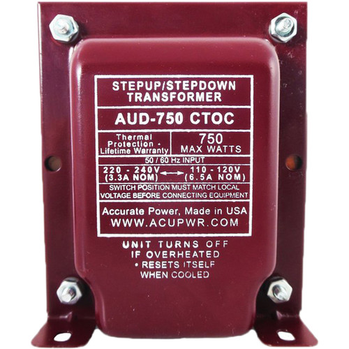 ACUPWR AUD-750IEC Type-D 750W Step-Up and Step-Down Transformer with IEC Type-D