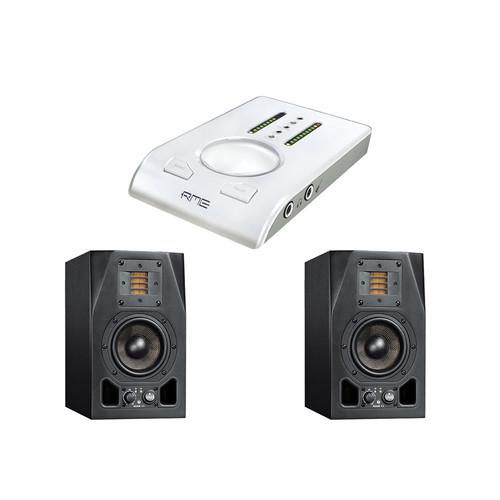 Adam Professional Audio A3X Studio Monitors with Babyface Snow Edition USB Audio Interface Kit
