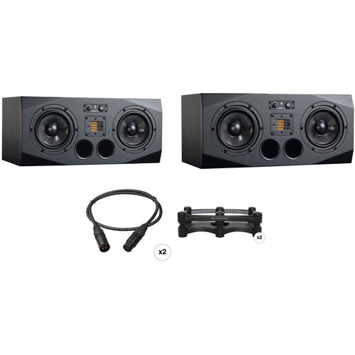 """Adam Professional Audio A77X Horizontal Two 7"""" Studio Monitors and Two Isolation Stands Kit"""