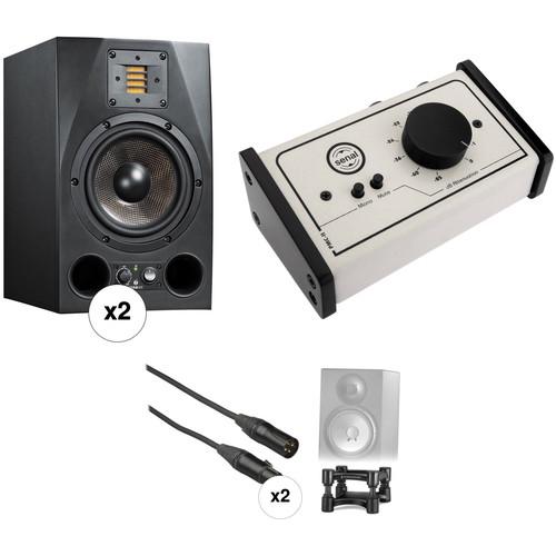 "Adam Professional Audio A7X 7"" Studio Monitors, Isolators, and Monitor Controller Kit"