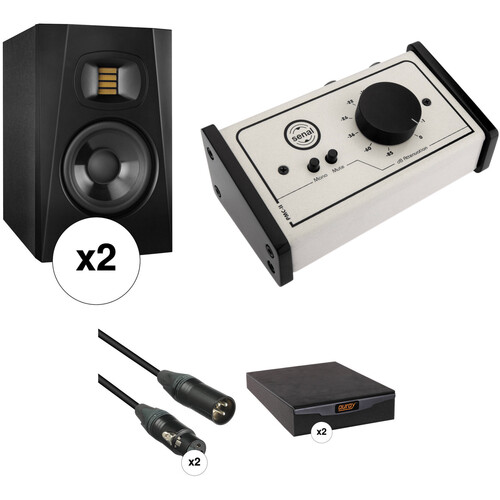 """Adam Professional Audio T5V 5"""" Studio Monitors, Isolation Pads, and Monitor Controller Kit"""