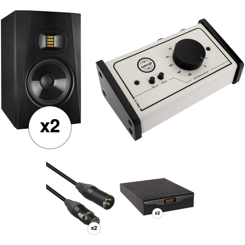 "Adam Professional Audio T7V 7"" Studio Monitors, Isolation Pads, and Monitor Controller Kit"