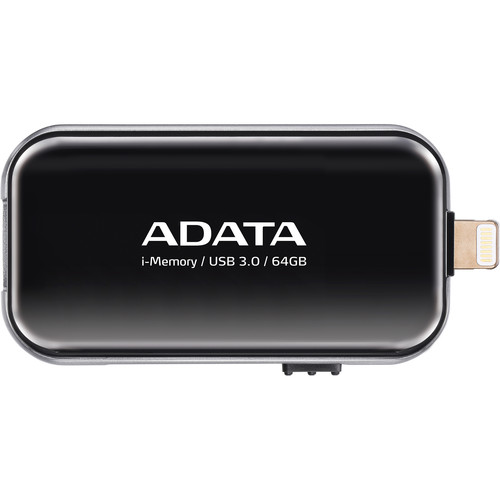 ADATA Technology UE710 i-Memory Flash Drive for Select iPhone, iPad, and iPod Devices (64GB, Black)