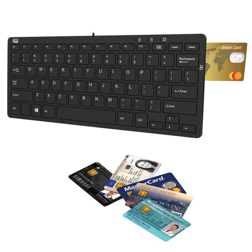 Adesso SlimTouch 510R Mini Keyboard with Smart Card Reader and USB Hubs