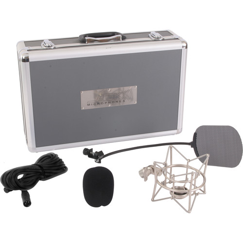 ADK MICROPHONES Pro+S Accessory Kit with Flight Case, Pop Filter, Silver Shockmount, and Cable