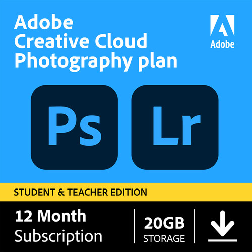 Adobe Creative Cloud Photography Plan (12 Month Subscription, Student and Teacher Edition, Download Card)