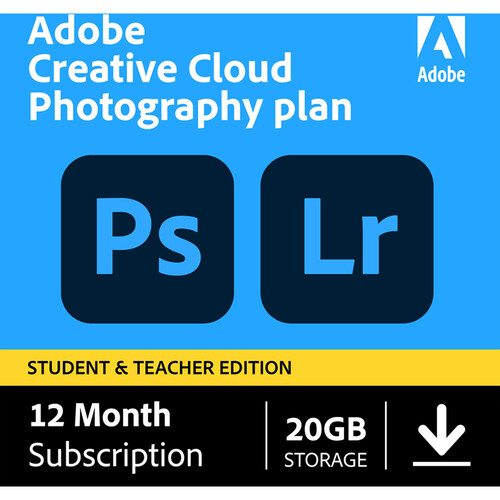Adobe Creative Cloud Photography Plan with 20GB Cloud Storage (12 Month Subscription, Student and Teacher Edition, Download)