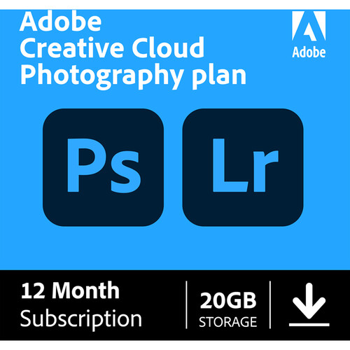 Adobe Creative Cloud Photography Plan with 20GB Cloud Storage (12-Month Subscription, Download)