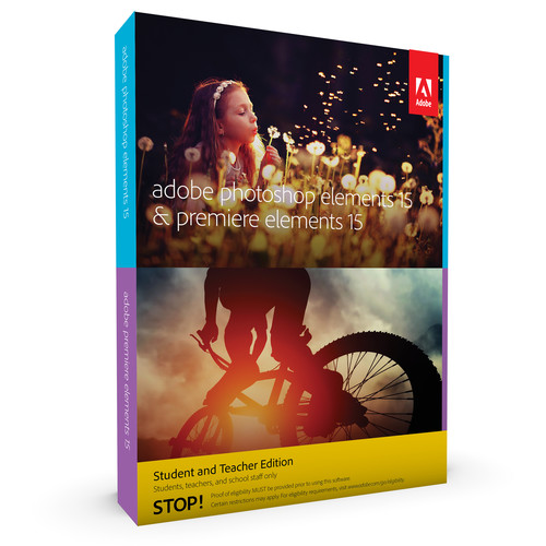 Adobe Photoshop Elements 15 and Premiere Elements 15 (DVD, Student & Teacher Edition)