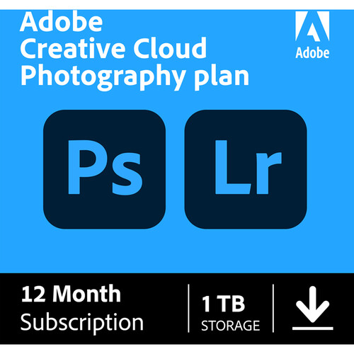 Adobe Creative Cloud Photography Plan with 1TB Cloud Storage (12-Month Subscription, Download)