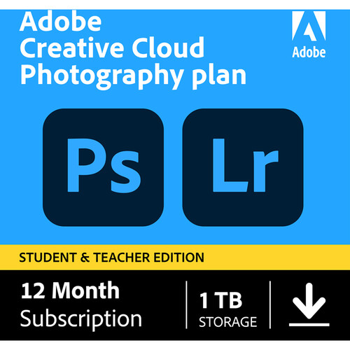 Adobe Creative Cloud Photography Plan with 1TB Cloud Storage (12-Month Subscription, Student and Teacher Edition, Download)