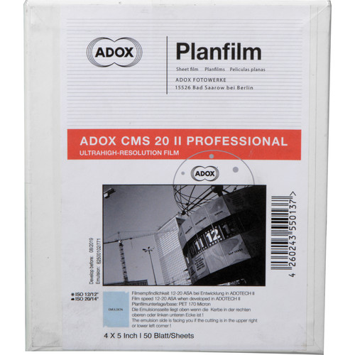 """Adox CMS 20 II Professional 4 x 5"""" Black and White Negative Film (50 Sheets)"""
