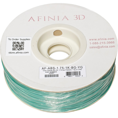 Afinia Value-Line ABS Filament for Afinia 3D Printers (Color Change Blue/Green-Yellow/Green, 1.75mm)