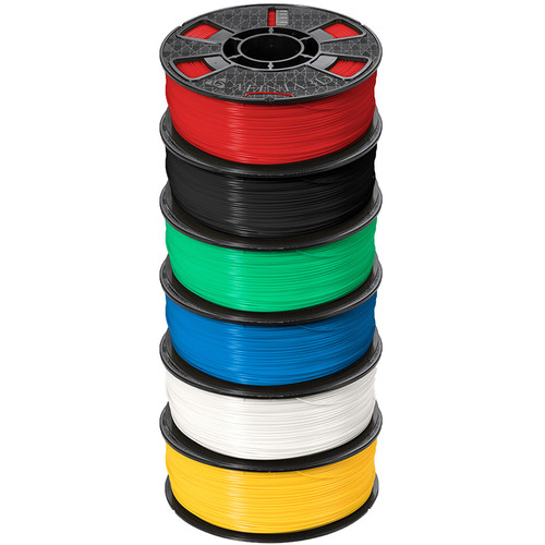 Afinia Premium Plus 1.75mm ABS Filament 6-Pack (6 x 2.2 lb, Black / Blue / Green / Red / White / Yellow)