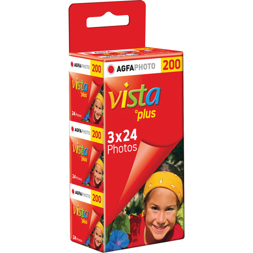 AgfaPhoto Vista plus 200 Color Negative Film (35mm Roll Film, 24 Exposures, 3 Pack)