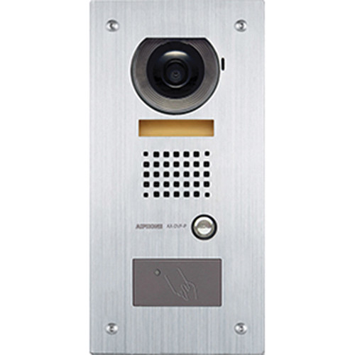 Aiphone AX-DVF-P Vandal-Resistant Stainless Steel Flush-Mount Color Video Door Station with Built-In HID ProxPoint Plus Card Reader