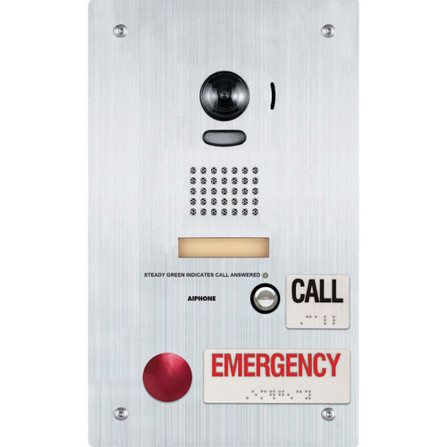 Aiphone IS-DVF-2RA Stainless-Steel Flush-Mount Video Door Station with Standard & Emergency Call Buttons