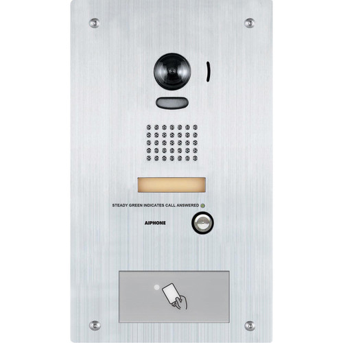 Aiphone IS-DVF-HID Vandal-Resistant Flush Mount Color Video Door Station with HID Proximity Reader