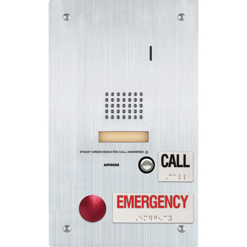 Aiphone IS-SS-2RA Stainless Steel Flush-Mountable Audio Door Station with Standard & Emergency Call Button