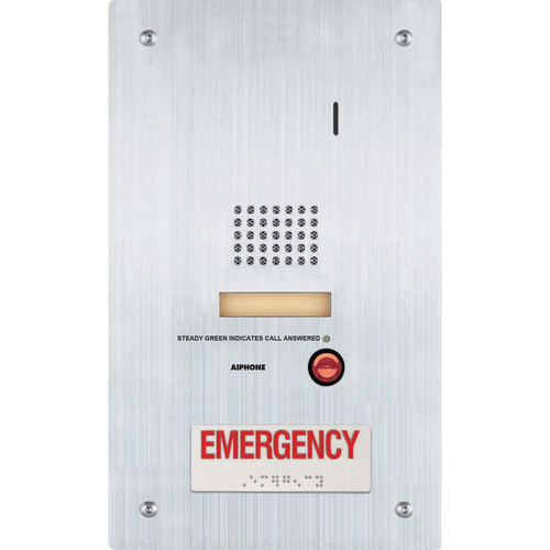 Aiphone IS-SS-RA Stainless Steel Flush Mount Audio Door Station with Emergency Call Button