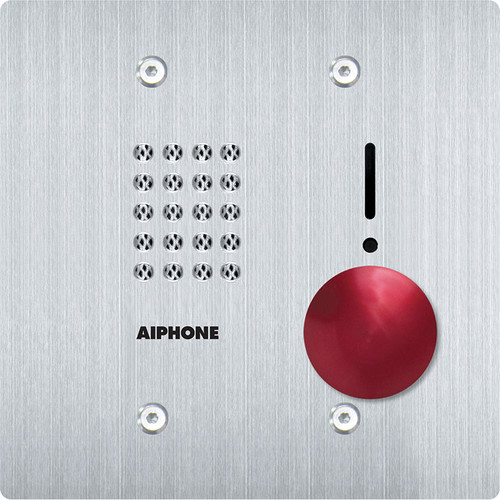 Aiphone IS-SSR-2G 2-Gang Audio Door Station with Red Mushroom Button for IS Series Control Unit