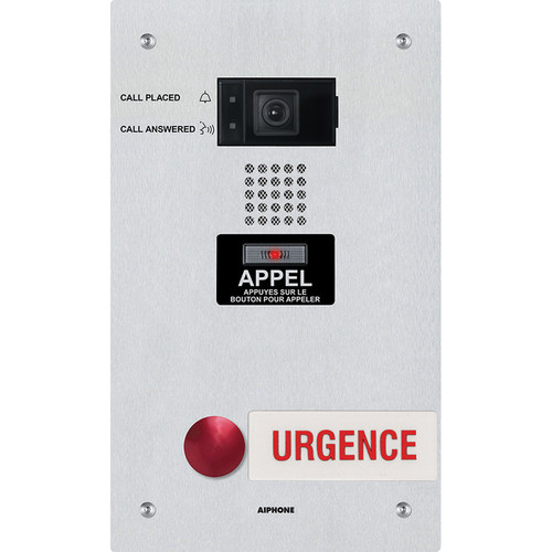 Aiphone IX-DF-2RA-FR IP-Addressable Dual-Call Button Video Emergency Station with French Signage