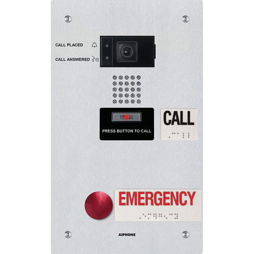 Aiphone IX-DF-2RA IPAddressable Dual-Call Button Video Emergency Station for the IX Series Video Intercom Systems