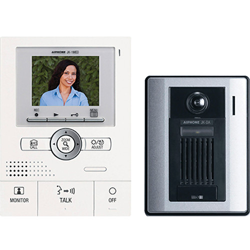 Aiphone JKS-1AED Pan/Tilt/Zoom Hands-Free Color Video Intercom Set with Surface Mount Door Station