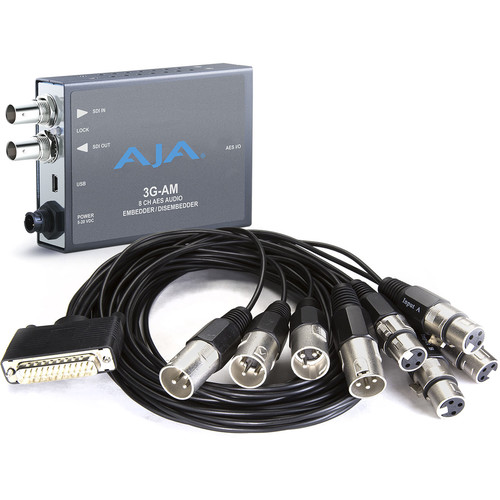 AJA 3G 8-Channel AES Embedder/Disembedder with XLR Connector Cable