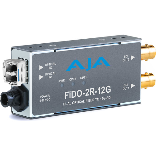 AJA 2-Channel Single-Mode LC Fiber to 12G-SDI Receiver