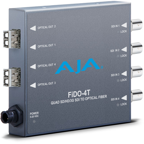 AJA FiDO 4-Channel 3G-SDI to Single-Mode LC Fiber Transmitter for CWDM SFPs