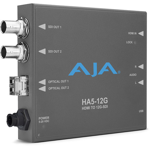 AJA HA5-12G-2T HDMI 2.0 to 12G-SDI Mini-Converter with 2 x Fiber Tx