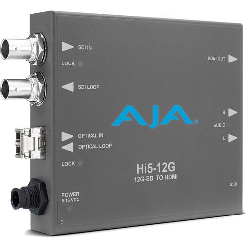 AJA Hi5-12G-TR 12G-SDI to HDMI 2.0 Mini-Converter with Fiber LC Transceiver