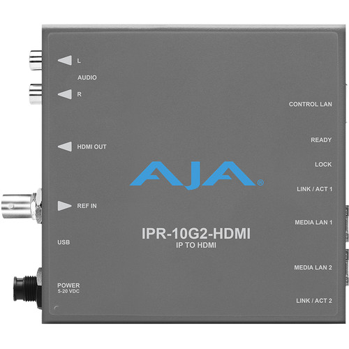 AJA Single Channel SMPTE Video And Audio IP Decoder To HDMI 1.4B (UltraHD/HD) With Hitless Switching