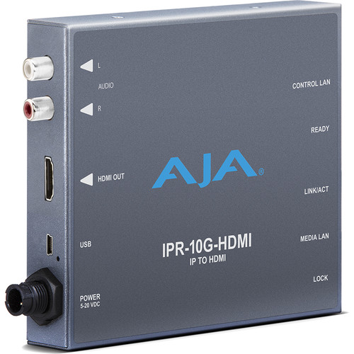 AJA SMPTE ST 2110 IP Video and Audio to HDMI Converter