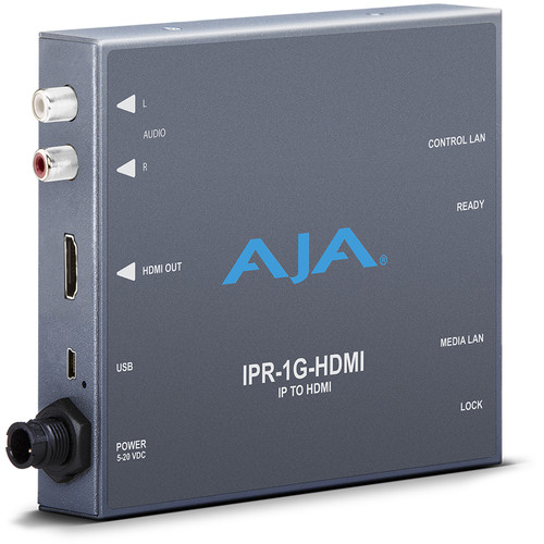AJA JPEG 2000 IP Video & Audio to HDMI Converter