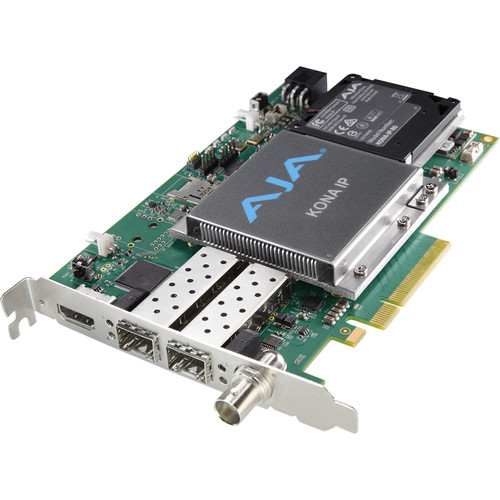 AJA IP Video/Audio I/O Card,8-Lane PCIE 2.0,2x10 Gige SFP Cages,HDMI Monitoring Output,LTC In