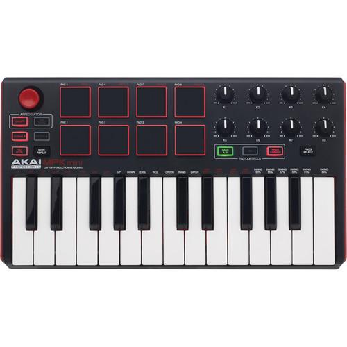 Akai Professional MPK Mini MKII Compact Keyboard and Pad Controller (Black on White)