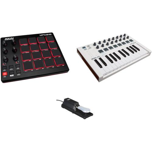 Akai Professional Akai Professional MPD218 USB Pad Controller with Arturia MiniLab Mk II Keyboard Controller and Auray Sustain Pedal Kit