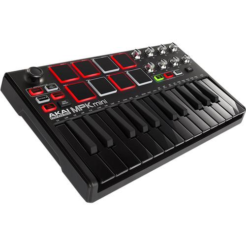 Akai Professional MPK Mini MKII Compact Keyboard and Pad Controller (Black on Black)