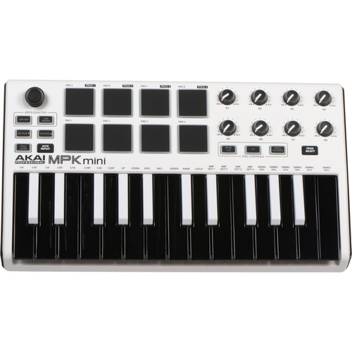 Akai Professional MPK mini MKII - Compact Keyboard and Pad Controller (White-on-Black)