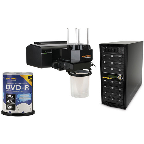 Aleratec RoboJet Disc AutoPrinter Kit with 1:7 DVD/CD Copy Tower Duplicator and 90 Pack DVD-R