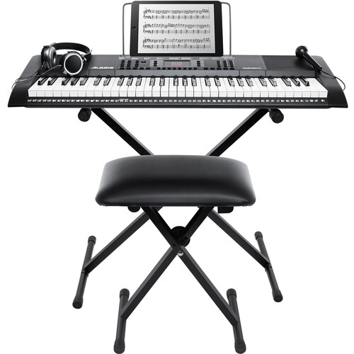 Alesis Harmony 61 MKII Portable Keyboard w/ Stand, Bench, - Headphones