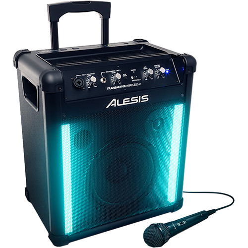 Alesis TransActive Wireless 2 Portable Powered Bluetooth 2-Way Speaker System with Rechargeable Battery and Lights