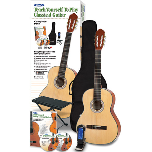 ALFRED Teach Yourself To Play Classical Guitar Starter Pack - Firebrand Nylon-String Acoustic Guitar & Instructional Book