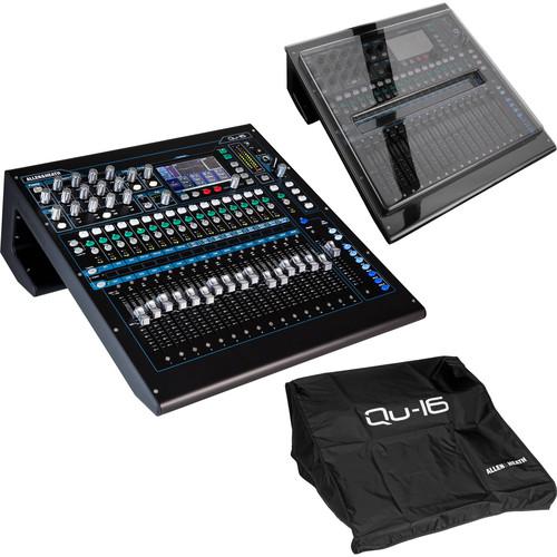 Allen & Heath Qu-16 Digital Mixer/Recorder Kit with Dust Cover & Decksaver (Chrome Edition)