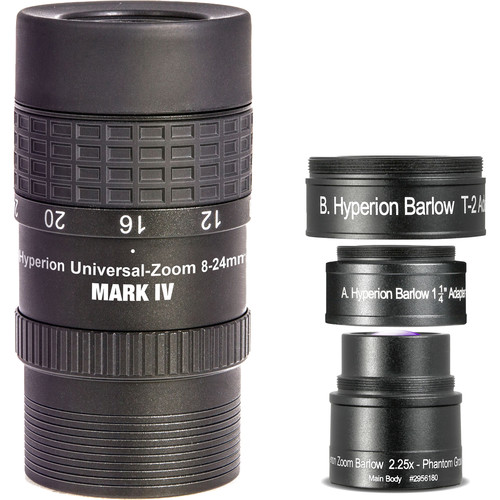 Alpine Astronomical Baader Hyperion 8-24mm Mark IV Zoom Eyepiece with Hyperion Zoom Barlow Lens